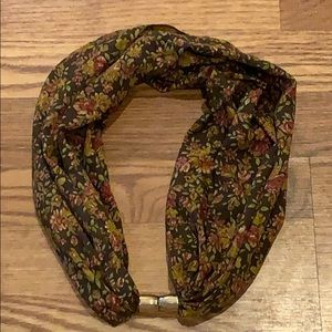 Brown Flower Infinity Scarf with Gold Clasp